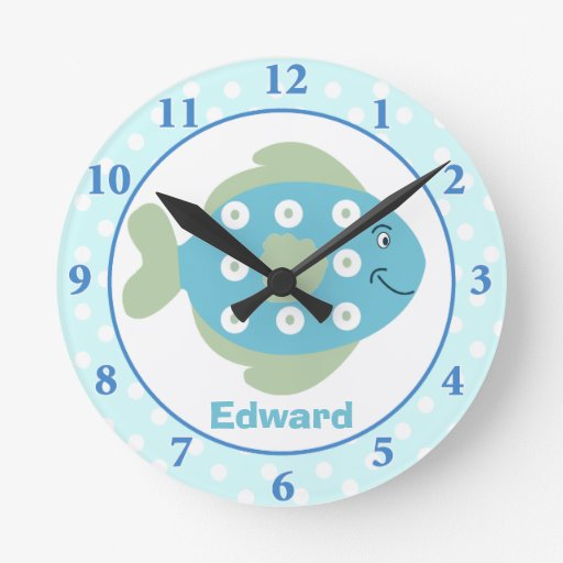 Blue Fish Under The Sea Wall Clock