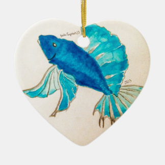 Blue Fish Watercolor Ceramic Ornament