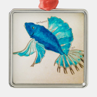Blue Fish Watercolor Metal Ornament