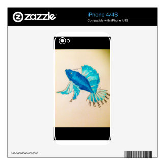Blue Fish Watercolor Skin For iPhone 4S