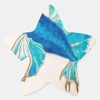 Blue Fish Watercolor Star Sticker