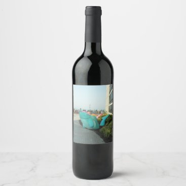 Beach Themed Blue Fish Wine Label
