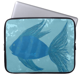 Blue Fish with Stripes Laptop Sleeve