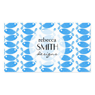 Blue Fishes, Fish Pattern, Fish Motif Business Card