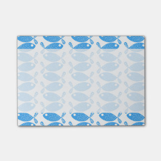 Blue Fishes, Fish Pattern, Fish Motif Post-it® Notes