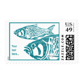 Blue Fishes Lino Block Postage Stamps