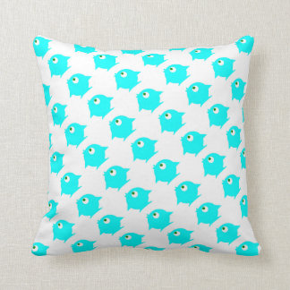 blue fishes throw pillow