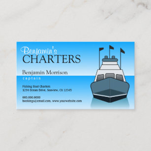 Charter fishing business cards templates zazzle blue fishing boat charter services guide boating business card colourmoves