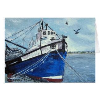 Blue Fishing Boat Greeting Card