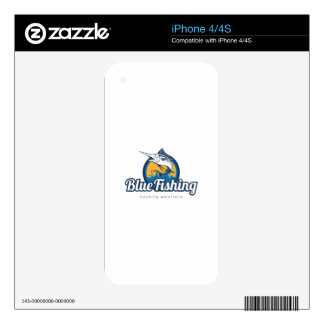 Blue Fishing Products Decals For iPhone 4
