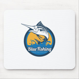 Blue Fishing Shop Mouse Pad