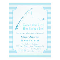 Blue Fishing Themed Baby Shower Invitations