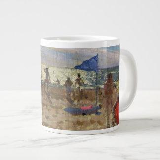 Blue flag and red sun shade Montalivet Large Coffee Mug
