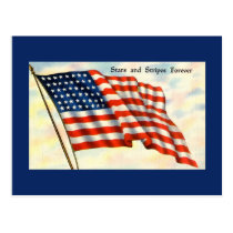 Blue Flag Independence Day Postcard