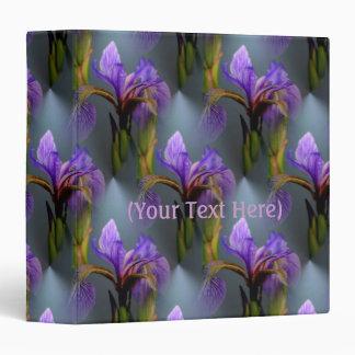 Blue Flag Iris Flower Nature Art Pattern 3 Ring Binder