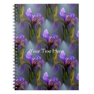 Blue Flag Iris Flower Nature Art Pattern Note Book