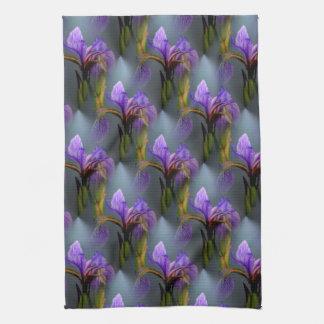 Blue Flag Iris Flower Nature Art Pattern Towel