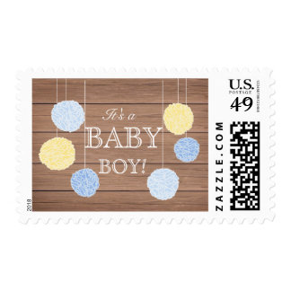 Blue Flags n Fluffs Baby Shower Stamp