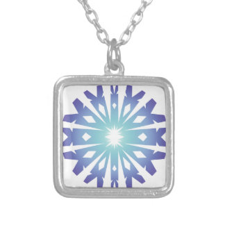 Blue Flake VIII Silver Plated Necklace