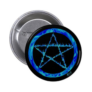 Blue Flame pentacle Pin