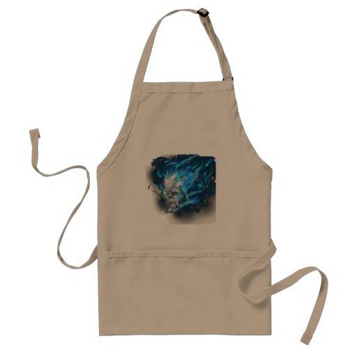 Blue flame skull adult apron