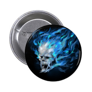 Blue flame skull button