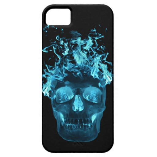 Blue Flame Skull iPhone 5G Case
