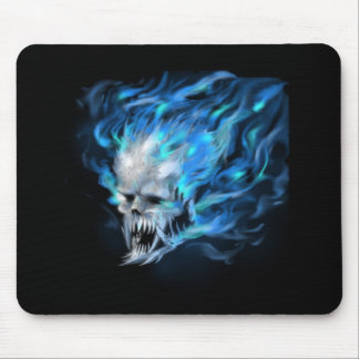 Blue flame skull mouse pad