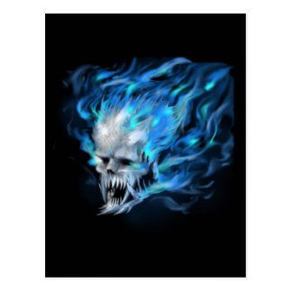 Blue flame skull postcard