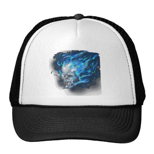 Blue flame skull trucker hat