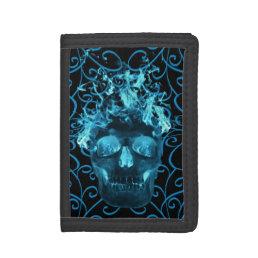 Blue Flame Skull Wallet