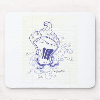 Blue Flamed Face Mouse Pad