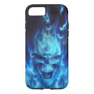 blue flames skull head iPhone 7 case