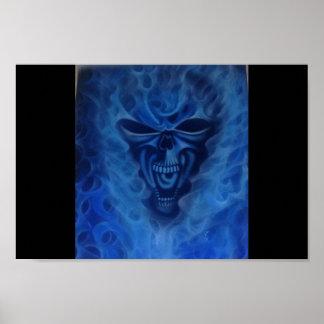 Blue flames skull poster