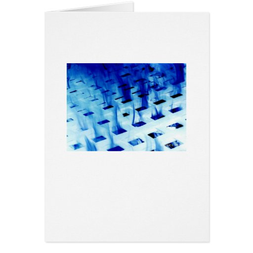 Blue flames through white grid design photo greeting card