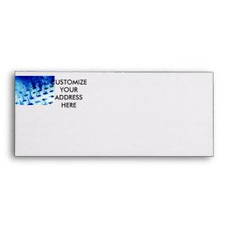 Blue flames through white grid design photo envelope