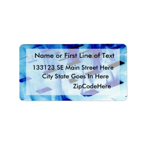 Blue flames through white grid design photo address label
