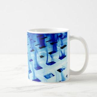 Blue flames through white grid design photo coffee mugs