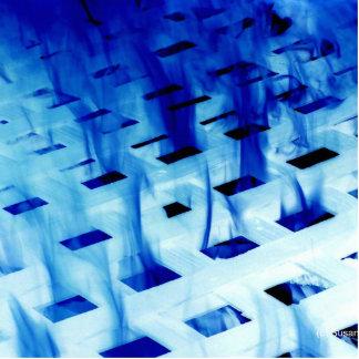 Blue flames through white grid design photo acrylic cut outs