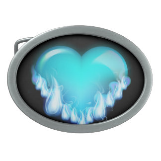Blue-flaming-heart png love icecold icy tough oval belt buckle