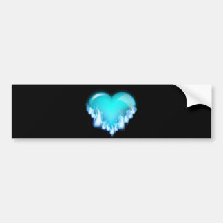 Blue-flaming-heart png love icecold icy tough bumper sticker