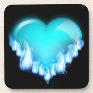 Blue-flaming-heart png love icecold icy tough drink coasters