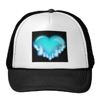 Blue-flaming-heart png love icecold icy tough trucker hats