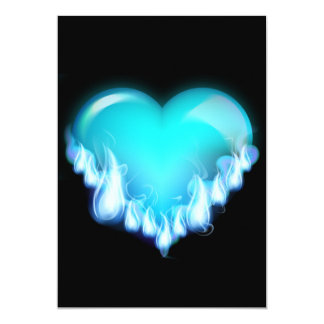 Blue-flaming-heart.png love icecold icy tough 5x7 paper invitation card