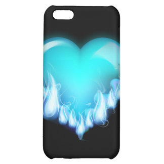 Blue-flaming-heart png love icecold icy tough cover for iPhone 5C