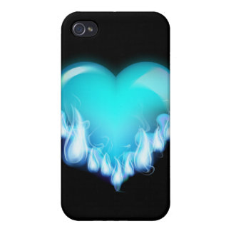 Blue-flaming-heart png love icecold icy tough iPhone 4 cover