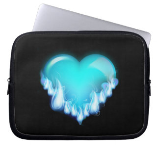 Blue-flaming-heart png love icecold icy tough laptop sleeves