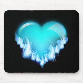 Blue-flaming-heart png love icecold icy tough mouse pads