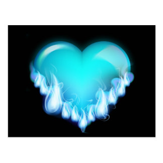 Blue-flaming-heart png love icecold icy tough post cards