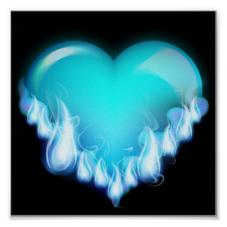 Blue-flaming-heart png love icecold icy tough poster